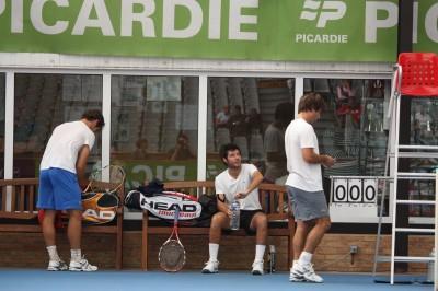 Gasquet, Grosjean et Santoro à l'entraînement (photo Guillaume)