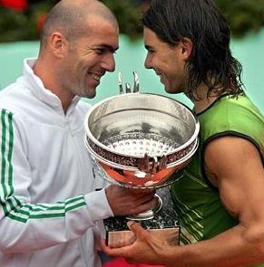 Zinedine Zidane et Rafael Nadal, Roland-Garros 2005 (photo DR)